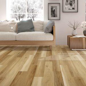 laminate flooring in modern living room | Mill Direct Floor Coverings
