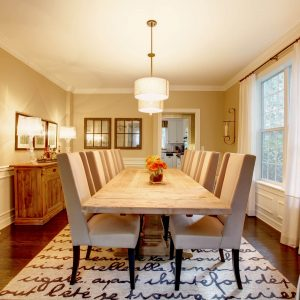 area rug in dining room | Mill Direct Floor Coverings